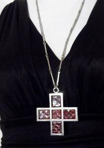 Anne Klein Accessocraft snake skin cross Necklace
